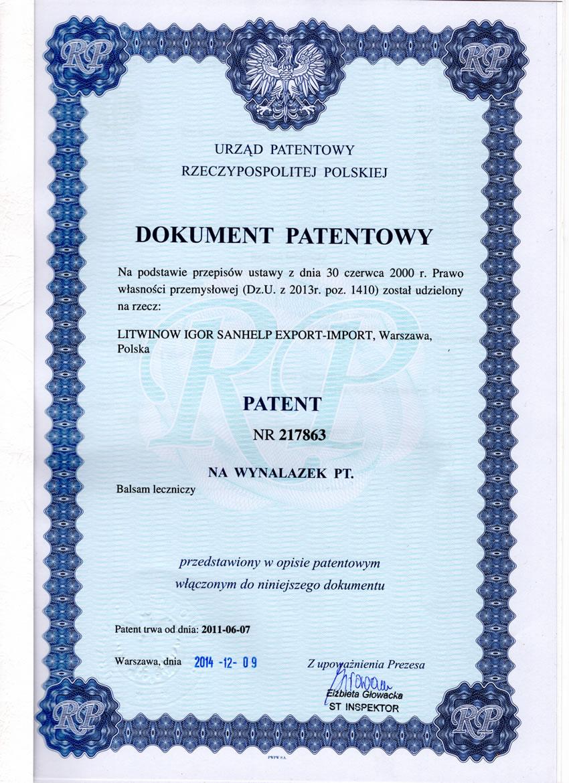 patent №217863 Poland